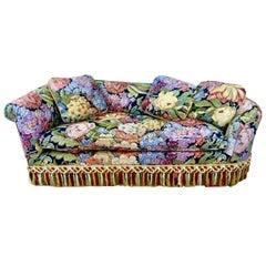 Vintage Postmodern Floral Tapestry Recamier Loveseat Sofa, Scalamandre Fringe