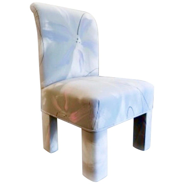 Gorgeous Postmodern dining chair, sculptural fully upholstered form, heather gray, pale lilac, soft pink and white textile. Custom piece by J. Robert Scott for a Connecticut estate. Single owner. Love the juxtaposition between the blockiness of from