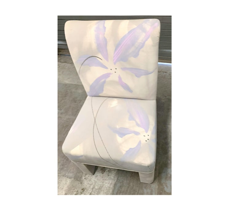 American Vintage Postmodern Parsons Dining Chair Set of 4, J. Robert Scott Floral Seating For Sale
