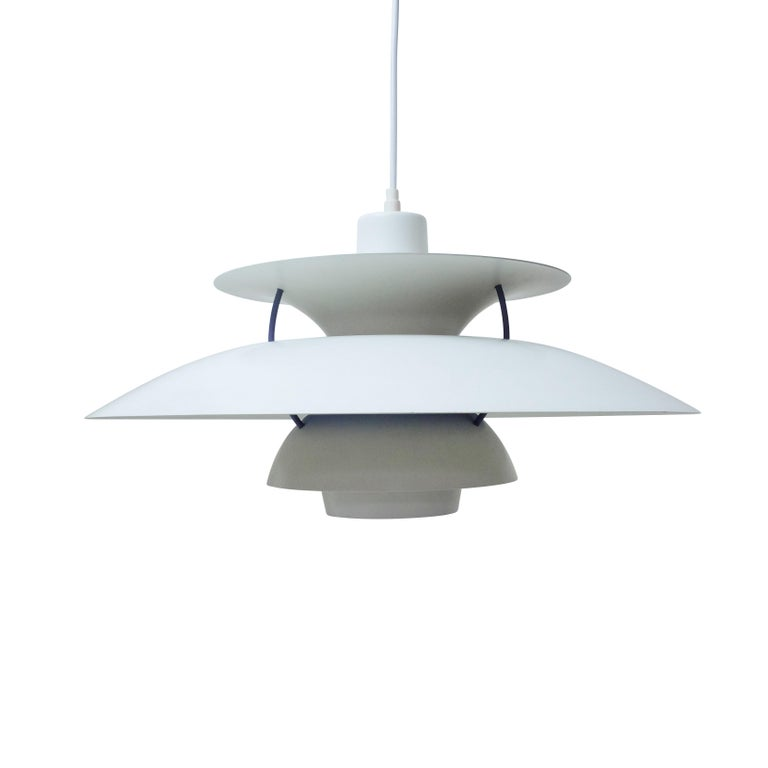 Vintage Poul Henningsen's PH5 ceiling lamp produced by Louis Poulsen, Denmark.  This lamp is in very good condition, no scratches or noticeable signs of wear, it has been tested and provided with new cotton wiring.  Condition: Very