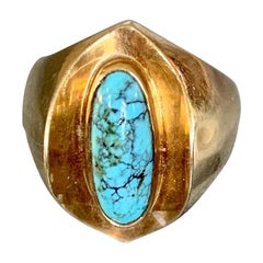 Vintage Poul Warmind Turquoise 18 Karat Yellow Gold Ring - Size 6