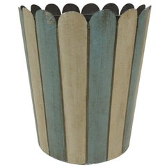 Vintage Powder Blue and Beige Tole Wastebasket with Scalloped Edges