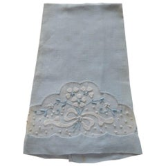 Vintage Powder Blue and White Cotton Embroidered Guest Towel