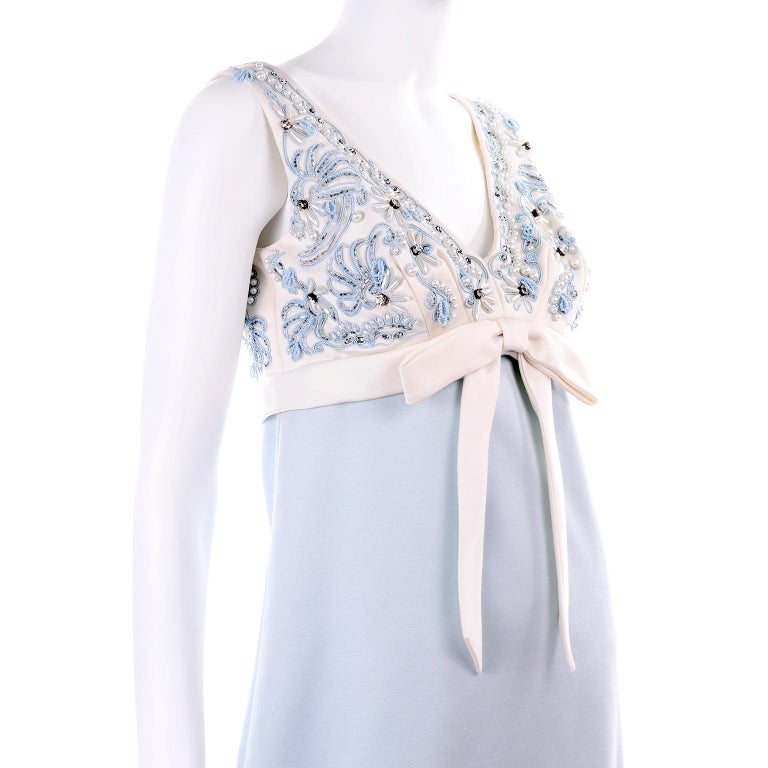 Vintage Powder Blue & White Beaded Dress W/ White Bow & Jacket For Sale 5