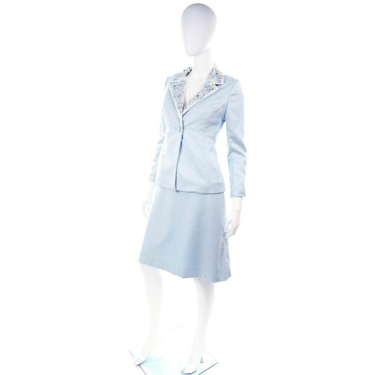 Vintage Powder Blue & White Beaded Dress W/ White Bow & Jacket For Sale 6