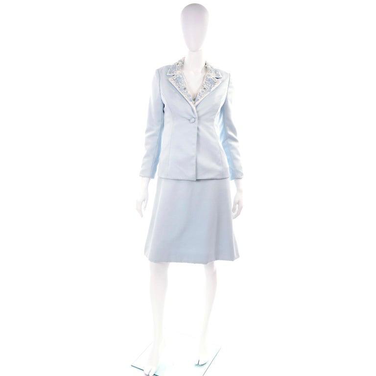Vintage Powder Blue & White Beaded Dress W/ White Bow & Jacket For Sale 7