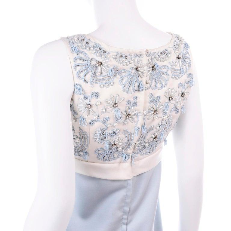 Vintage Powder Blue & White Beaded Dress W/ White Bow & Jacket For Sale 8
