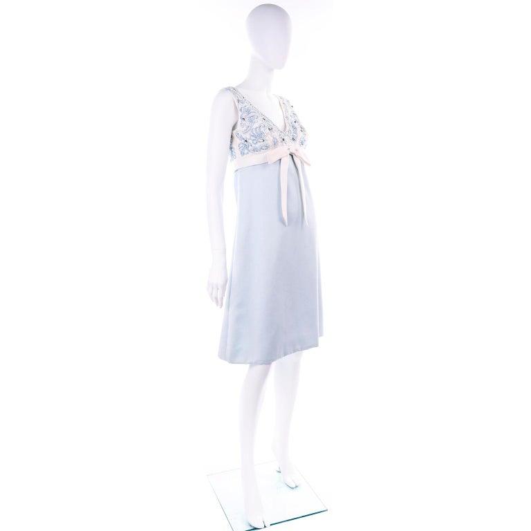 Purple Vintage Powder Blue & White Beaded Dress W/ White Bow & Jacket For Sale