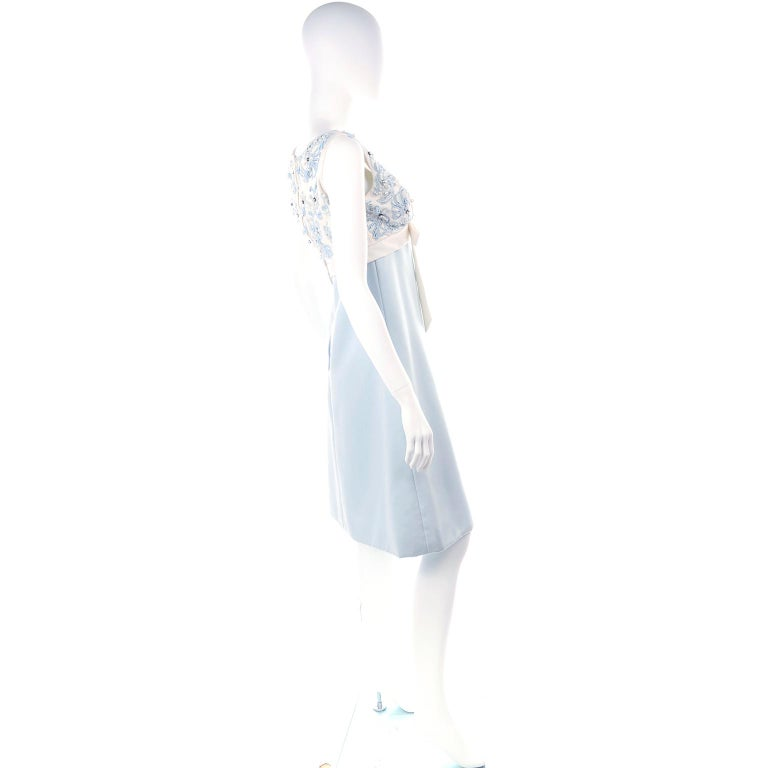 Vintage Powder Blue & White Beaded Dress W/ White Bow & Jacket In Excellent Condition For Sale In Portland, OR