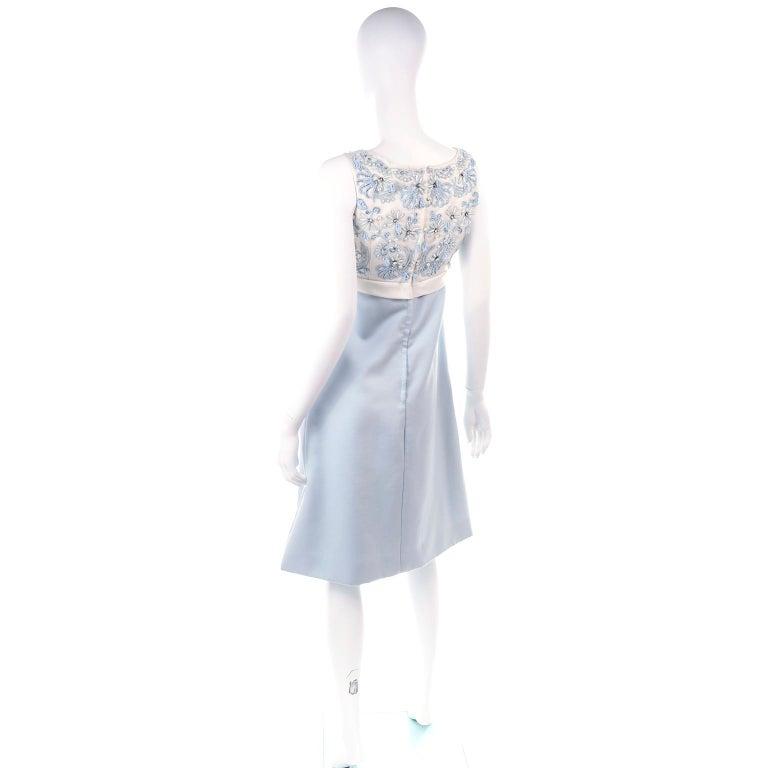 Women's Vintage Powder Blue & White Beaded Dress W/ White Bow & Jacket For Sale