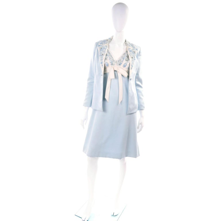 Vintage Powder Blue & White Beaded Dress W/ White Bow & Jacket For Sale 1