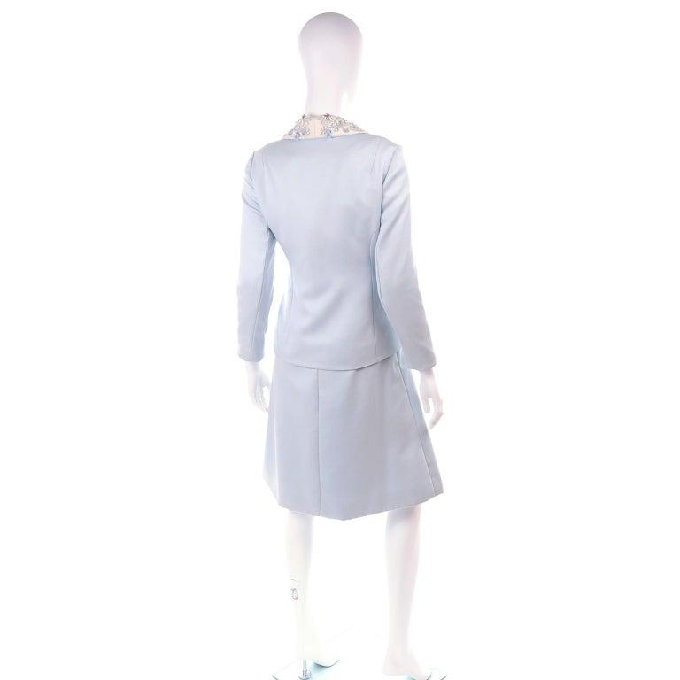 Vintage Powder Blue & White Beaded Dress W/ White Bow & Jacket For Sale 2