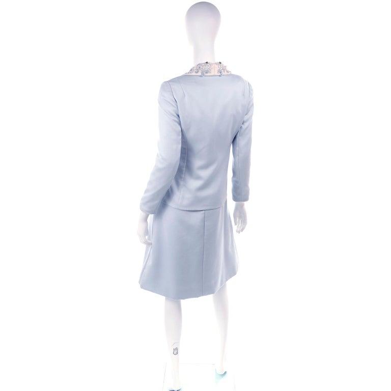 Vintage Powder Blue & White Beaded Dress W/ White Bow & Jacket For Sale 3