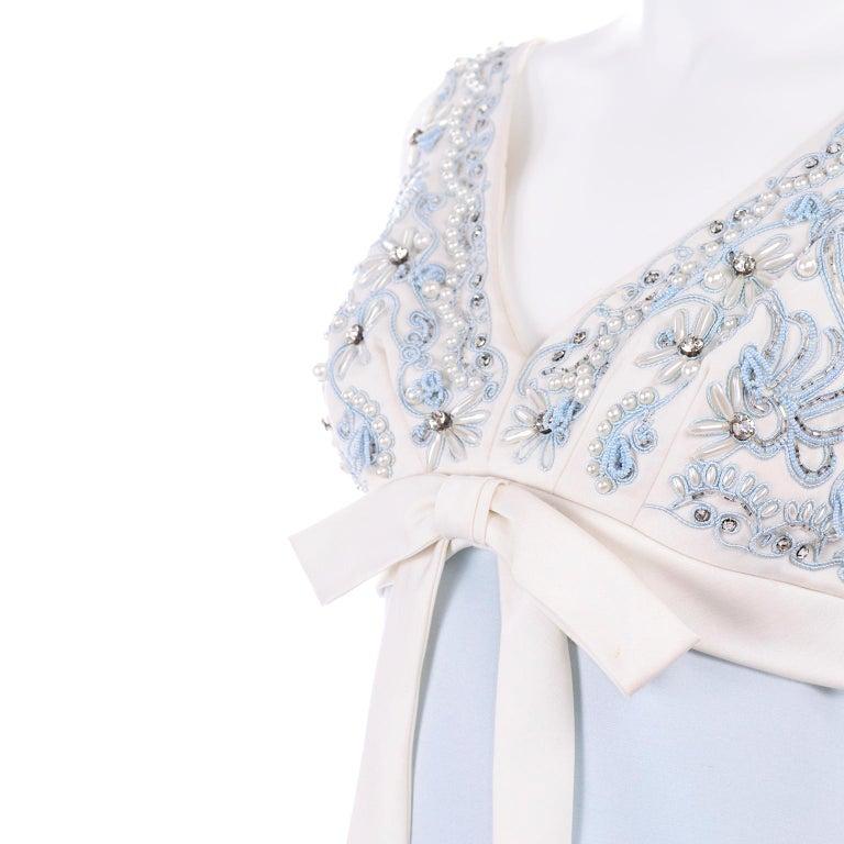 Vintage Powder Blue & White Beaded Dress W/ White Bow & Jacket For Sale 4