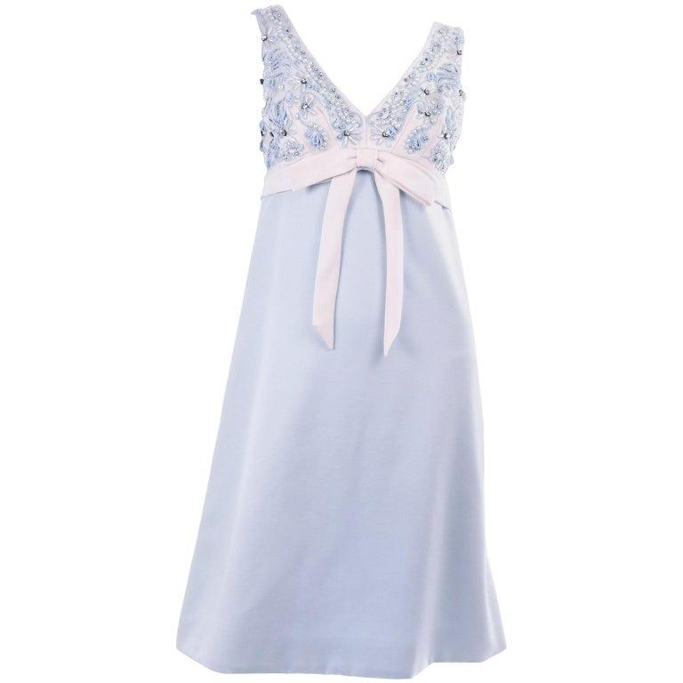 Vintage Powder Blue & White Beaded Dress W/ White Bow & Jacket For Sale