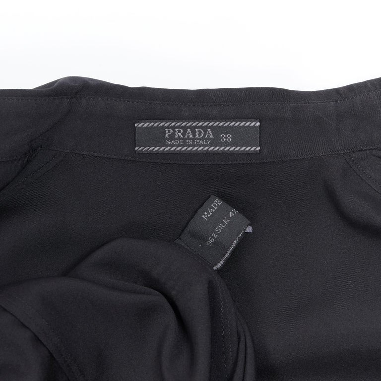 vintage PRADA black silk blend button front cropped 3/4 sleeve shirt top IT38 XS For Sale 5