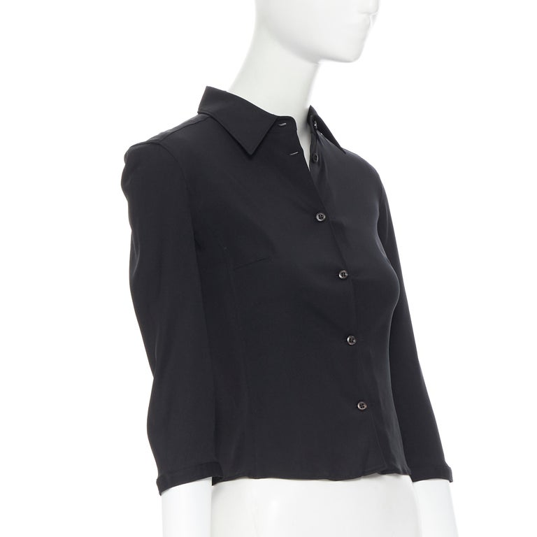 vintage PRADA black silk blend button front cropped 3/4 sleeve shirt top IT38 XS In Excellent Condition For Sale In Hong Kong, NT