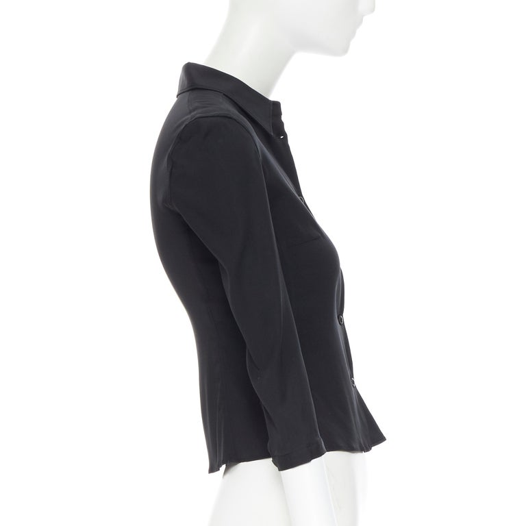 Women's vintage PRADA black silk blend button front cropped 3/4 sleeve shirt top IT38 XS For Sale