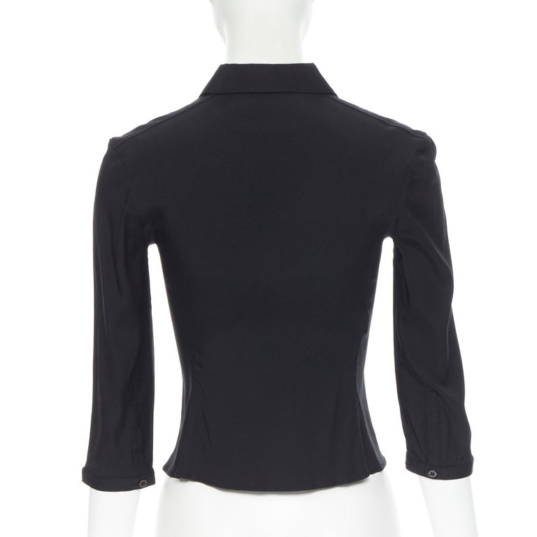 vintage PRADA black silk blend button front cropped 3/4 sleeve shirt top IT38 XS For Sale 1