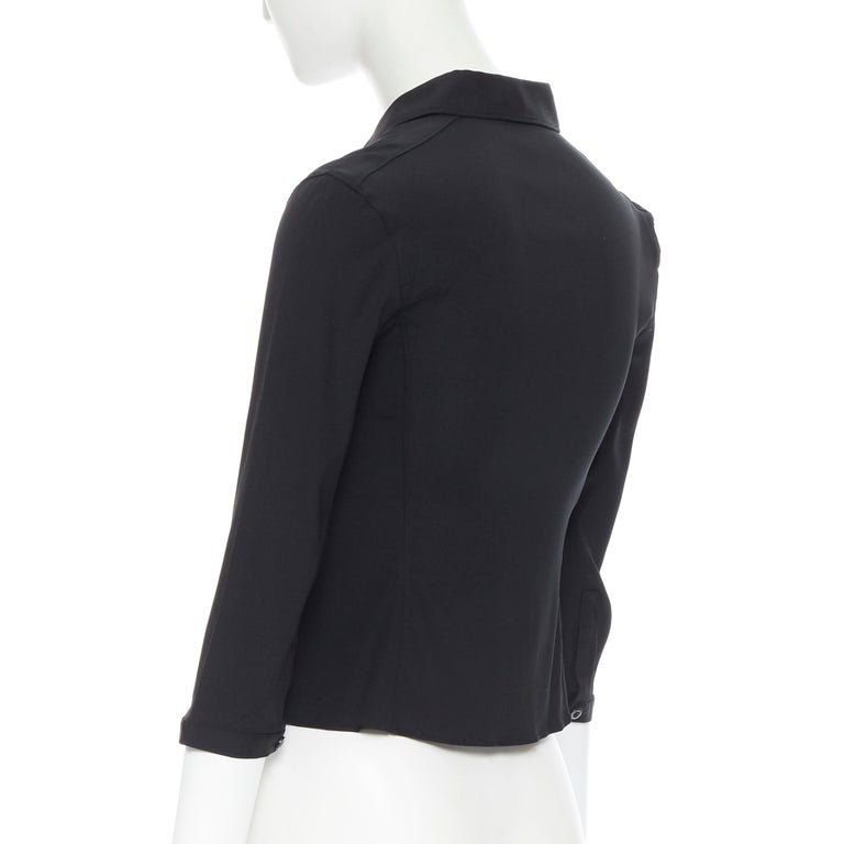 vintage PRADA black silk blend button front cropped 3/4 sleeve shirt top IT38 XS For Sale 2
