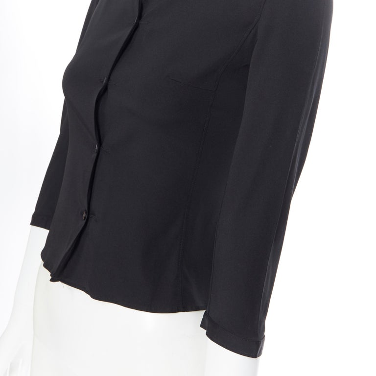 vintage PRADA black silk blend button front cropped 3/4 sleeve shirt top IT38 XS For Sale 3