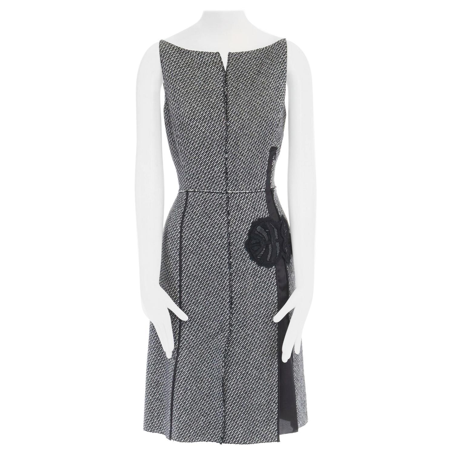 vintage PRADA grey mohair wool tweed raw edge bead embellished dress IT42 M