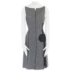 vintage PRADA grey mohair wool tweed raw edge bead embellished dress IT42 M