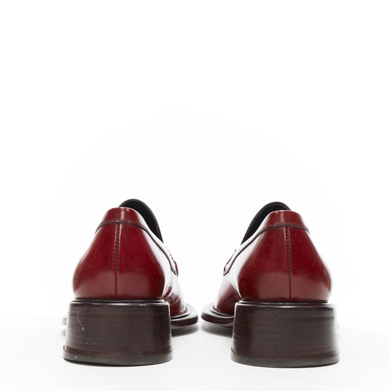 Women's vintage PRADA red polished leather square toe chunky heel loafer EU34.5 For Sale