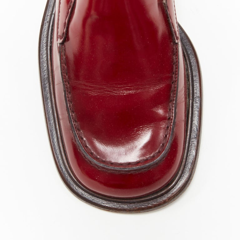 vintage PRADA red polished leather square toe chunky heel loafer EU34.5 For Sale 2