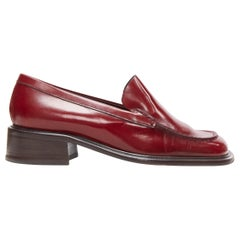 vintage PRADA red polished leather square toe chunky heel loafer EU34.5