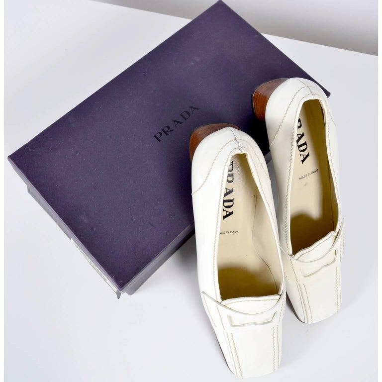 1e4c61ea55b Beige Vintage Prada Shoes W  Square Toes   Block Heels in Ivory Patent  Leather For