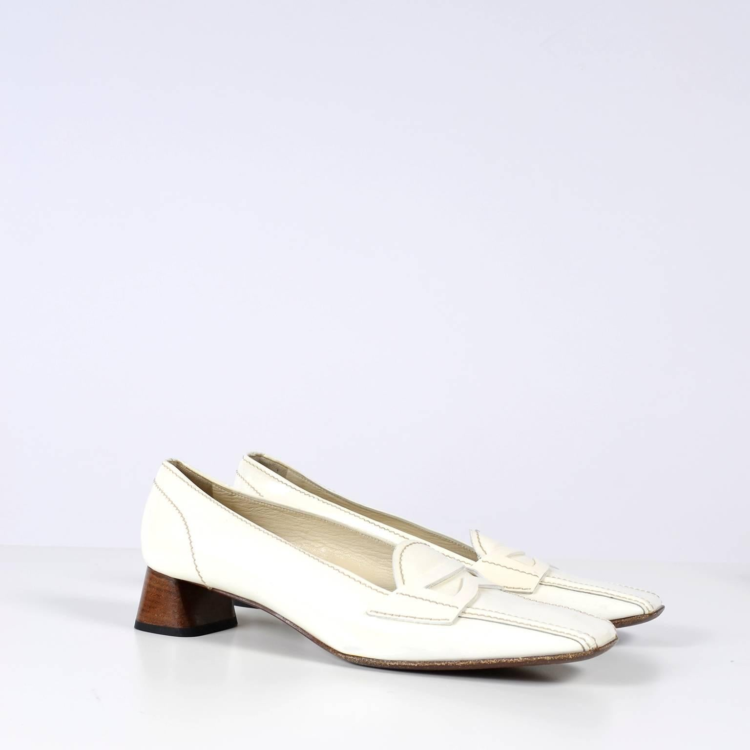 3d040947c6b2 Vintage Prada Shoes W/ Square Toes and Block Heels in Ivory Patent Leather  For Sale at 1stdibs