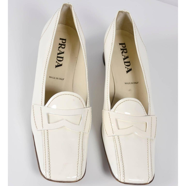 ae4f36c431c Women s Vintage Prada Shoes W  Square Toes   Block Heels in Ivory Patent  Leather For