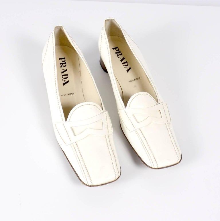b2ee6e2dad9 Vintage Prada Shoes W  Square Toes   Block Heels in Ivory Patent Leather  For Sale