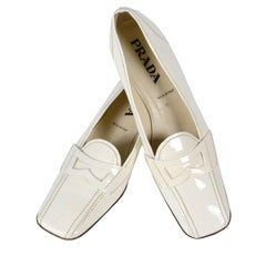 Vintage Prada Shoes W/ Square Toes & Block Heels in Ivory Patent Leather