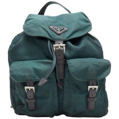 vintage PRADA Tessuto dark green nylon leather trim dual pocket backpack bag