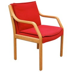 Vintage Preben Fabricius and Jørgen Kastholm Red Fabric Armchair