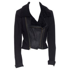 vintage PREEN black zip removable faux shearling collar wool cropped jacket S