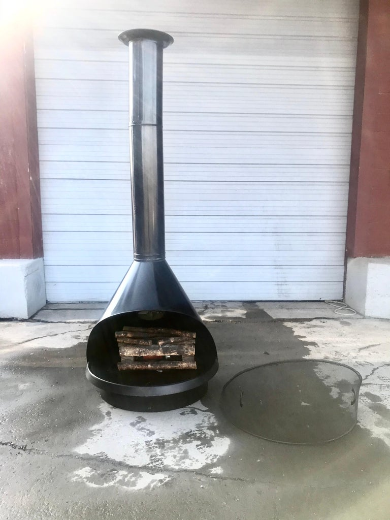 Mid-Century Modern Vintage Preway Freestanding Black Electric Fireplace