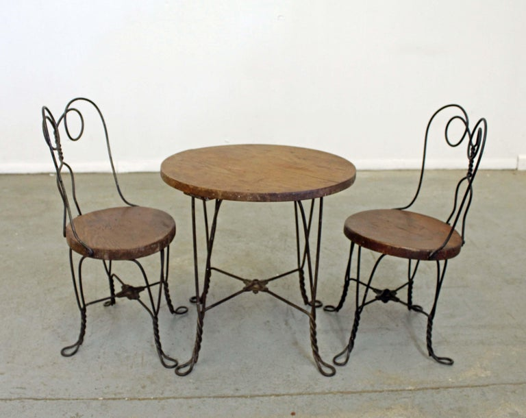 Vintage Primitive Ice Cream Parlor Children S Table And Chair Set At 1stdibs