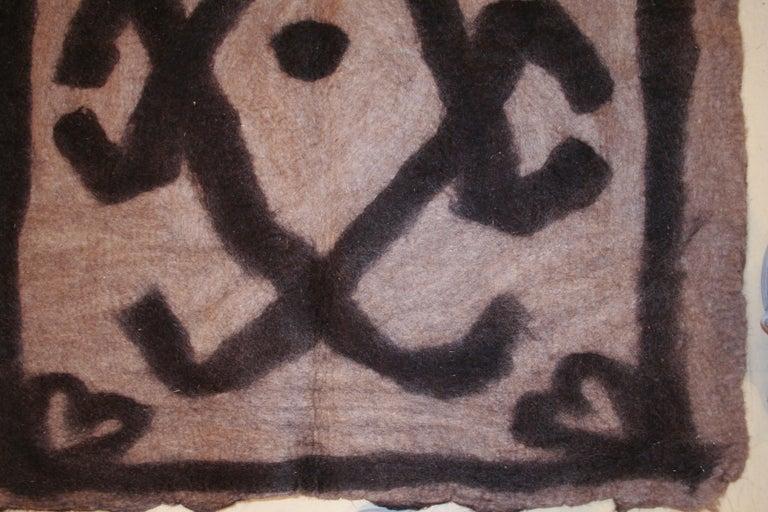 Turkish Vintage Primitive Modernist Tribal Felt Rug For Sale