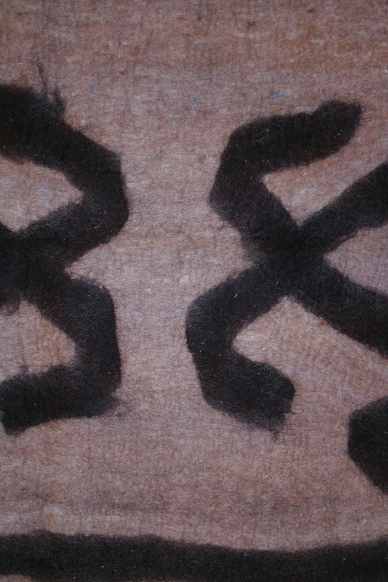 Mid-20th Century Vintage Primitive Modernist Tribal Felt Rug For Sale