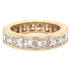 Vintage Princess Cut Diamond 14 Karat Gold Eternity Ring