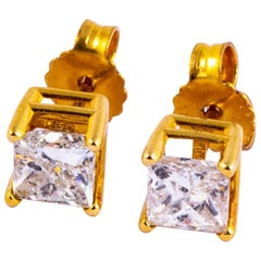 Vintage Princess Cut Diamond and 14 Carat Gold Stud Earrings