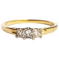 Vintage Princess Cut Diamond and 18 Carat Gold Three-Stone Ring