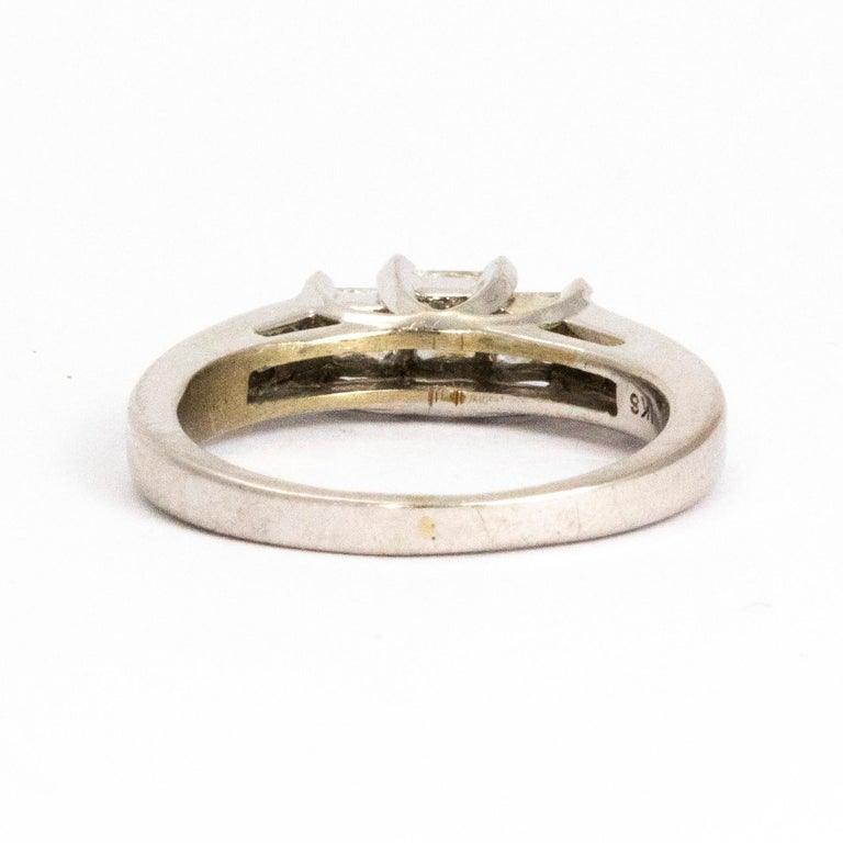 Modern Vintage Princess Cut Diamond and Platinum Ring For Sale