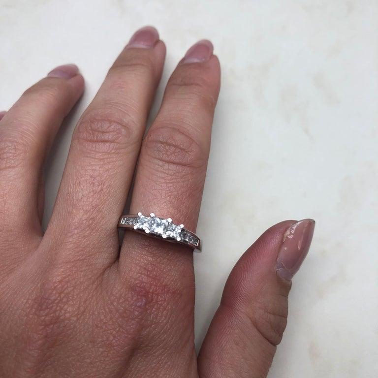 Women's Vintage Princess Cut Diamond and Platinum Ring For Sale