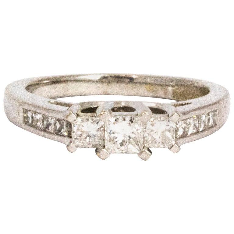 Vintage Princess Cut Diamond and Platinum Ring For Sale