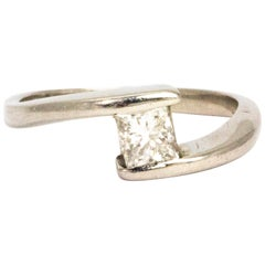 Vintage Princess Cut Diamond and Platinum Ring