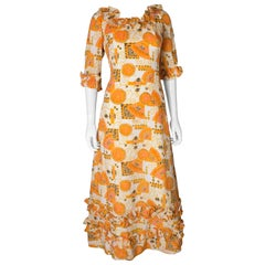 Vintage Print Frilled Gown by Binnie London